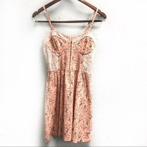 Topshop Floral and Lace Bustier Mini Dress